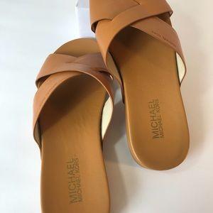 Michael Kors brown vachetta leather slides sandals
